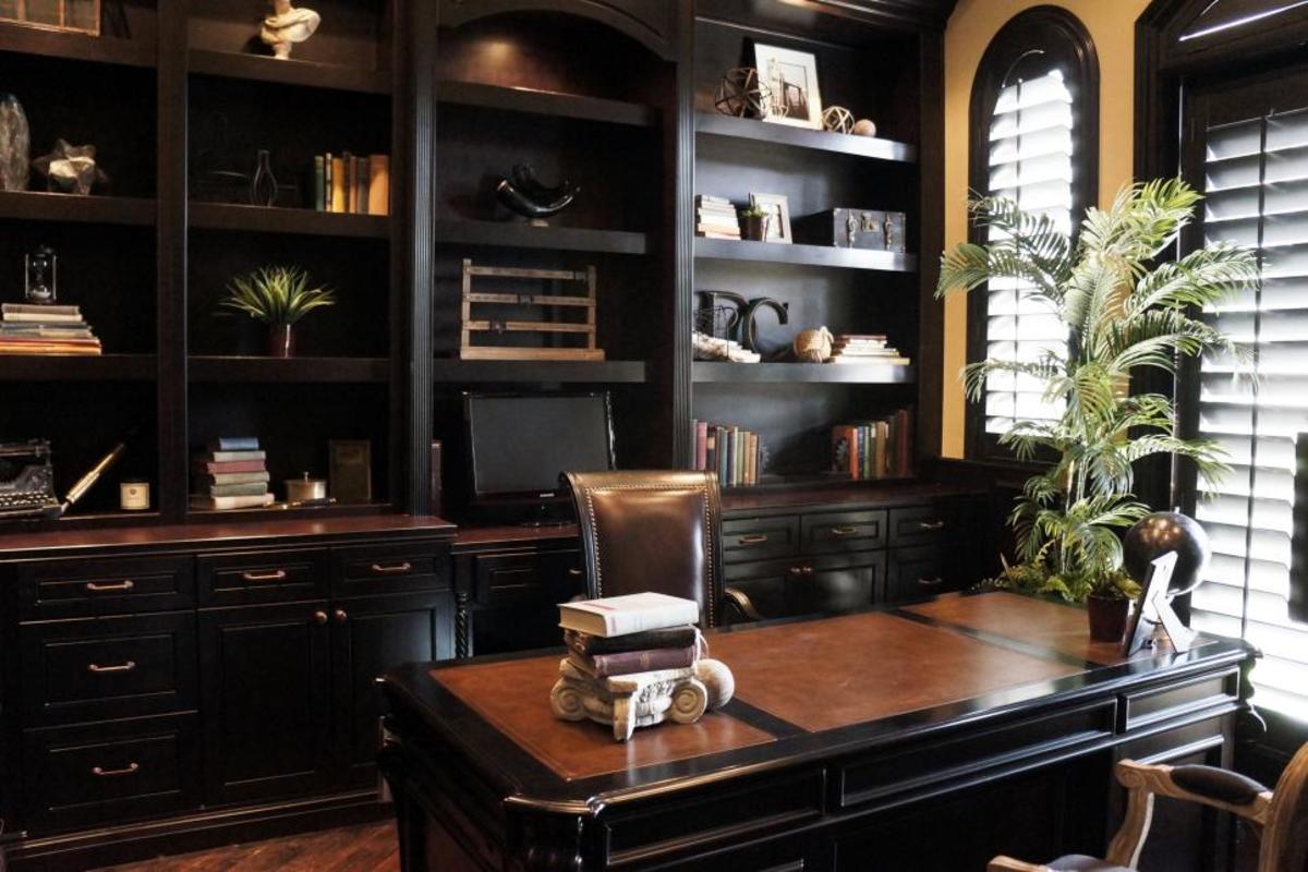 Dark wood gives the old world furniture a rich, European flavor.
