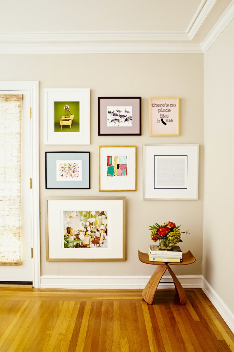 It is fun to create a gallery that covers an entire wall.