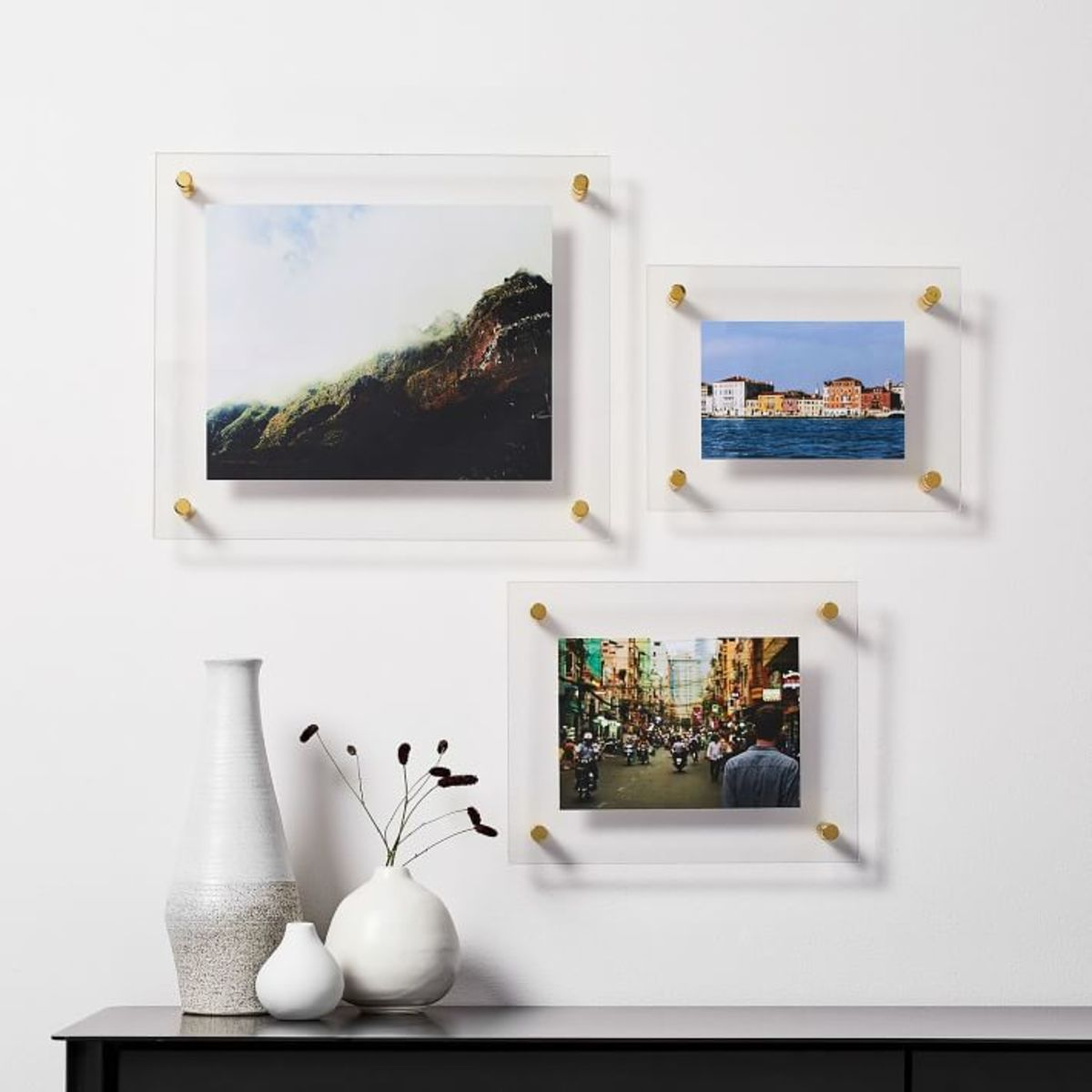 Floating acrylic frames look light and airy in  a modern room.