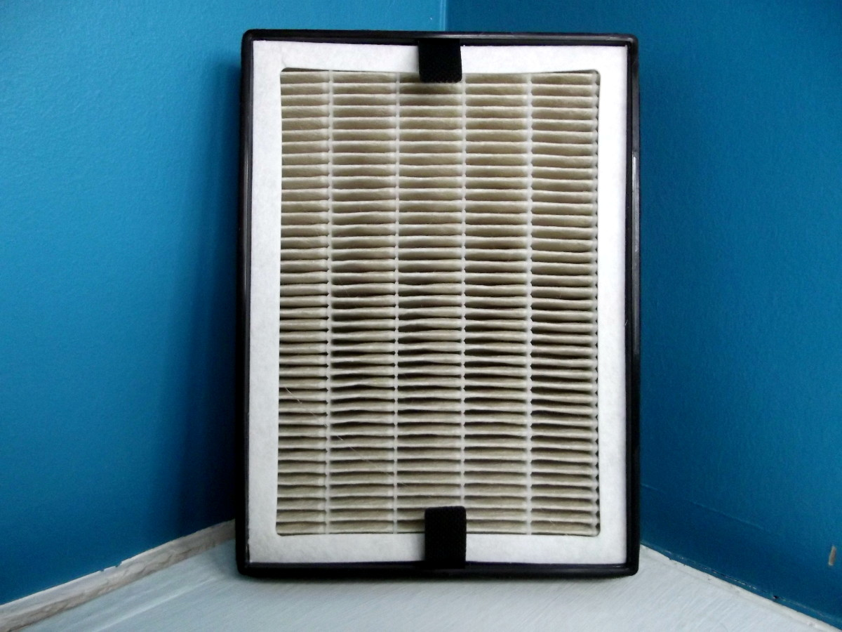 HEPA side of Levoit LV-H126 personal air purifier's primary filter.