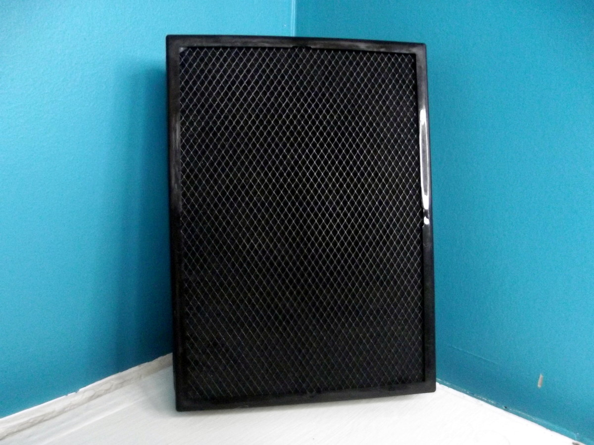 Activated charcoal side of Levoit LV-H126 personal air purifier's primary filter.