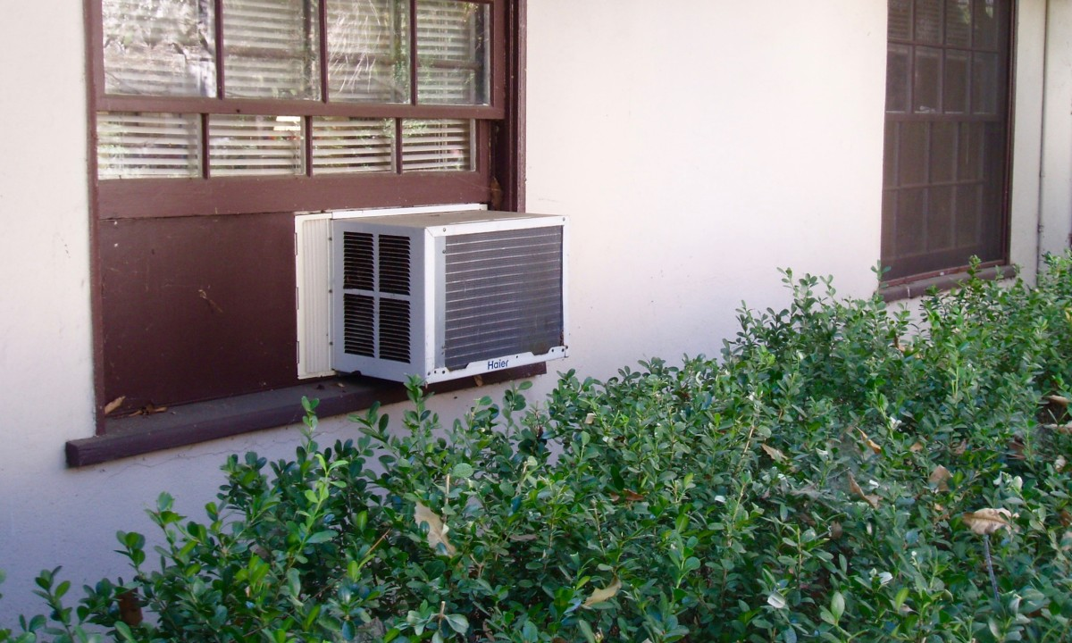 My living room window air conditioner. It works well, when I use it, but it's noisy. I have a bedroom one just like it.