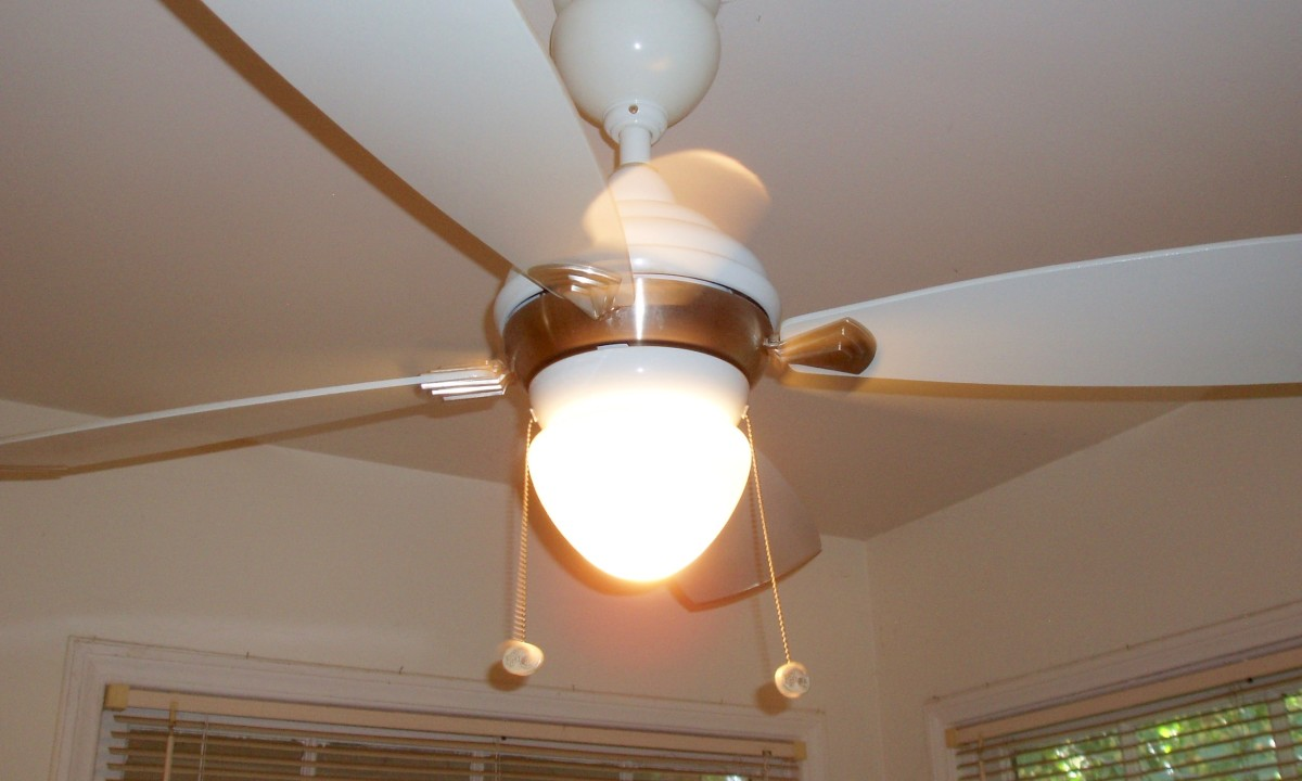 I love this ceiling fan. It has three speeds and I use them all, both to help cool the house and also keep the air fresh. It sits right above my kitchen table.