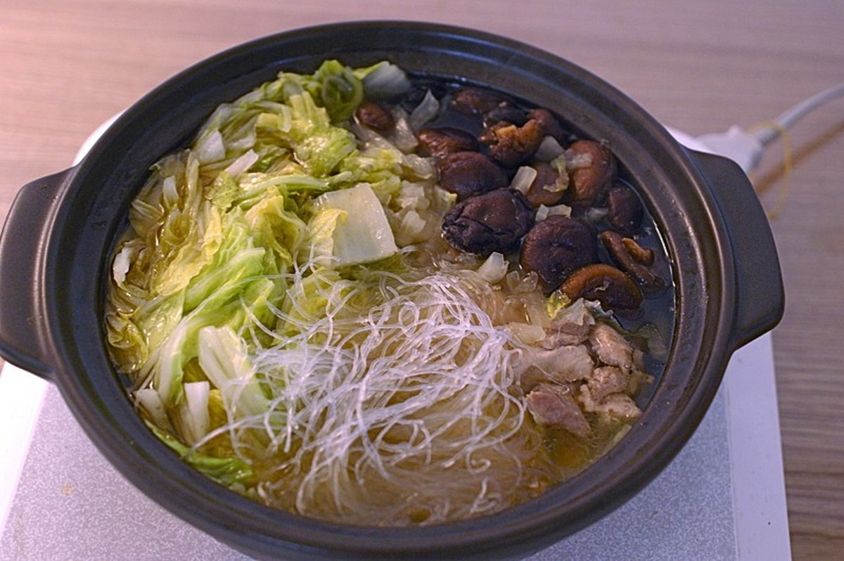 Chinese hot pot made with napa cabbage.