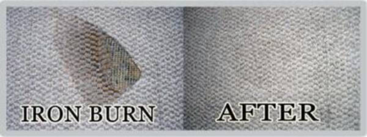 Use a replacement piece and cut out the burn. Remove and insert in the carpet area.