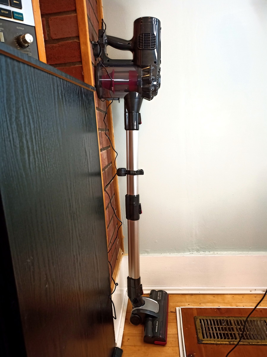 Vacuum hung on its wall mount