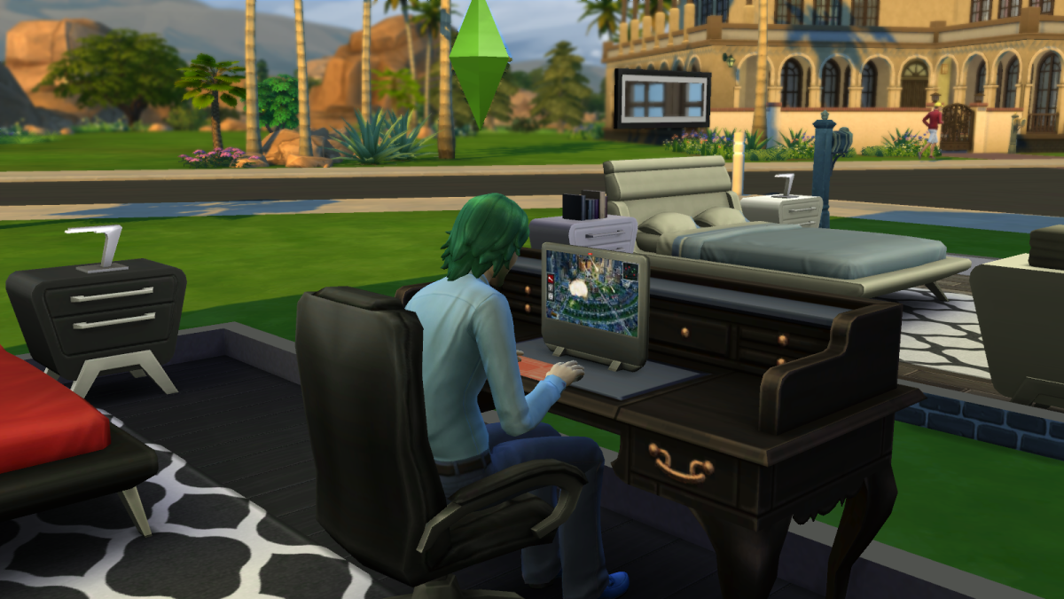 A sim playing a video game on The Sims 4. Just like real life, you actually CAN make money doing this... though you really need to commit yourself.