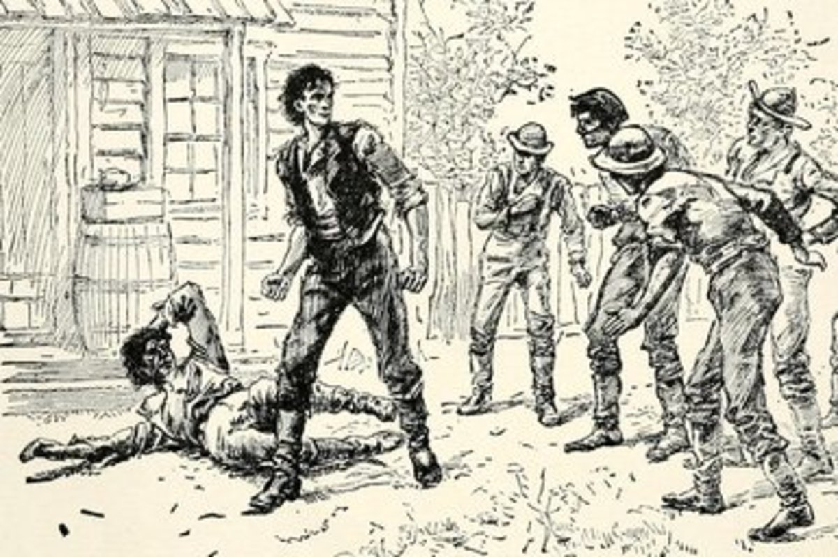 Depiction of Abraham Lincoln's wrestling match with Jack Armstrong.