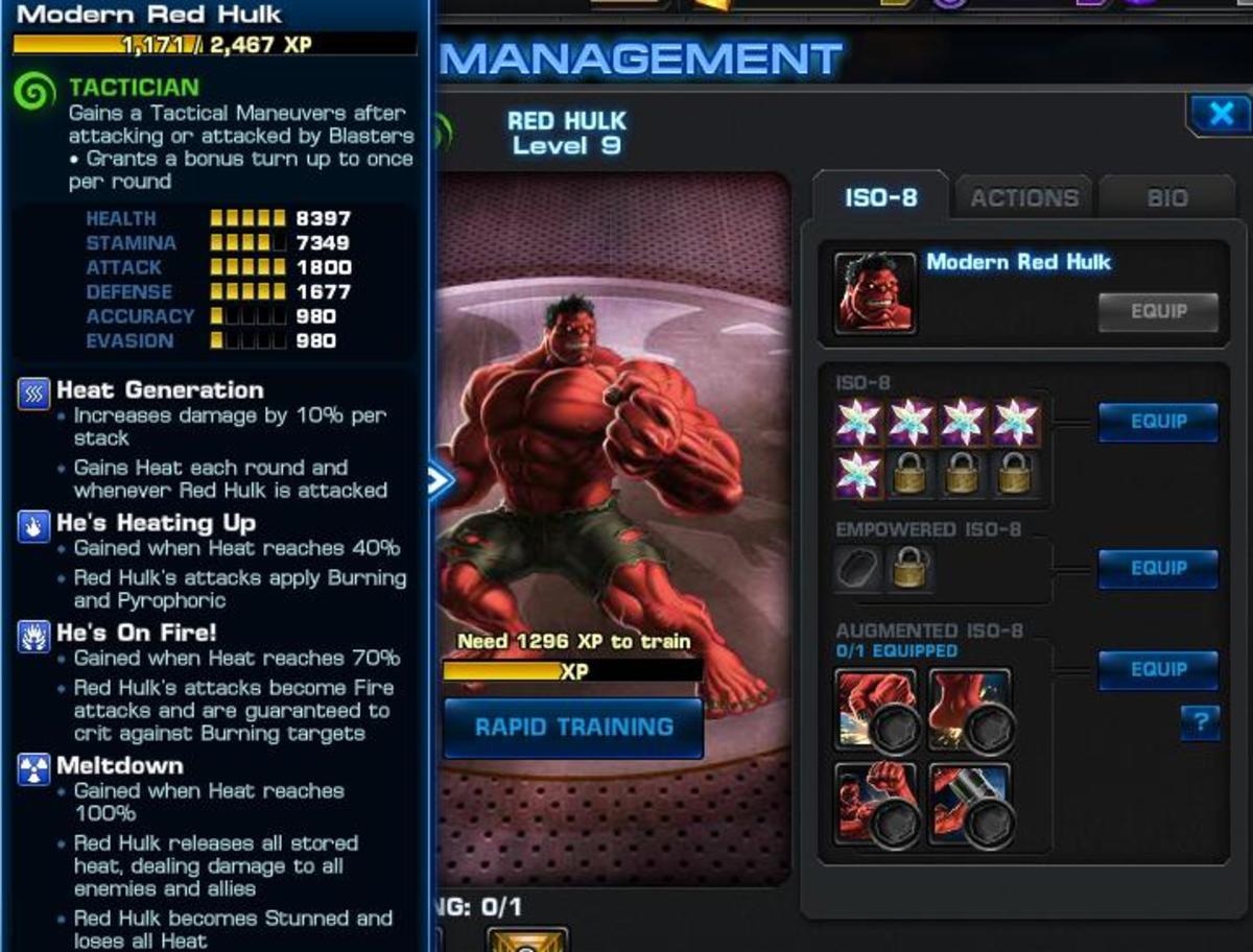 Red Hulk Hero Management Screen
