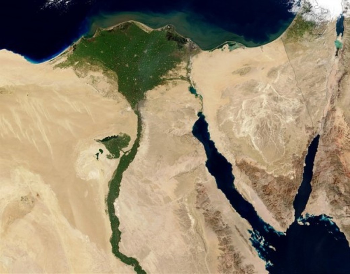 Around half of Egypt's population lives in the Nile Delta area (the green, fan-shaped region that borders the Mediterranean).