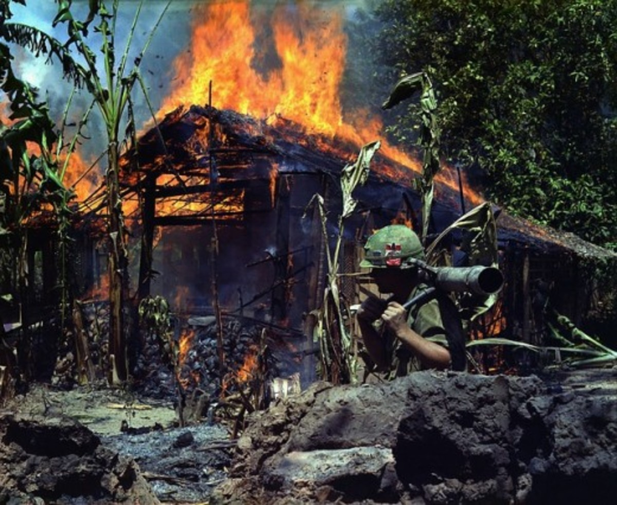 Interesting facts on the Vietnam War: Burning building.  Over the ten year war, Operation Ranch Hand sprayed around eleven million gallons of Agent Orange on the South Vietnamese landscape.