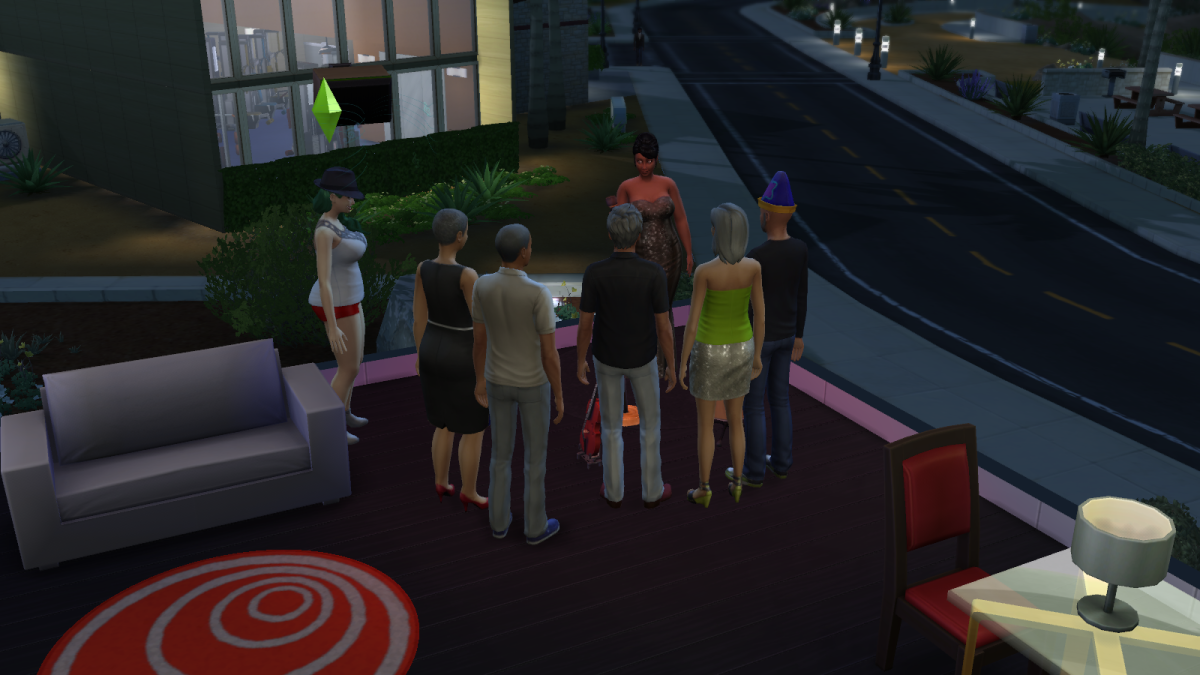 A sim performing standup in The Sims 4 using the Comedy skill. Sims who are successful at playing the audience can earn tips.