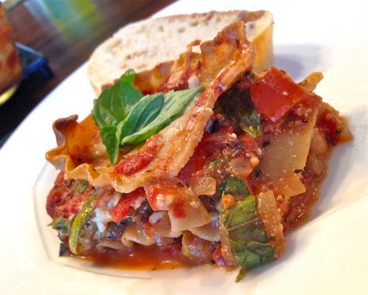 Vegan and gluten-free roasted vegetable lasagna