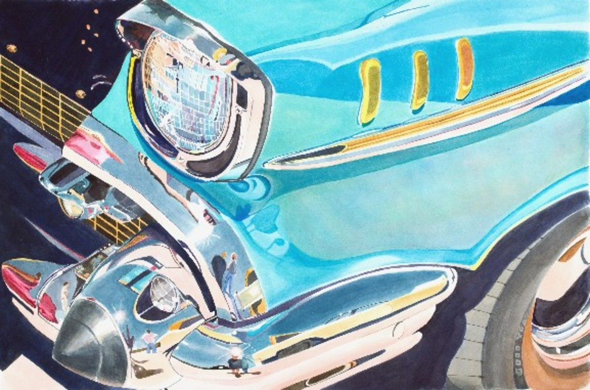 """This is one of my larger paintings, 20x30"""" """"Fifties Fender"""" watercolor."""