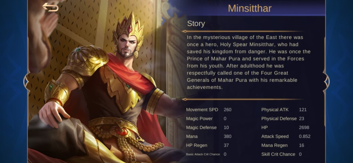 "Minsitthar's Story Background in ""Mobile Legends"""
