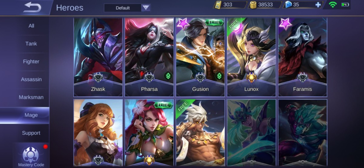 "List of Few of the Mages in ""Mobile Legends"""