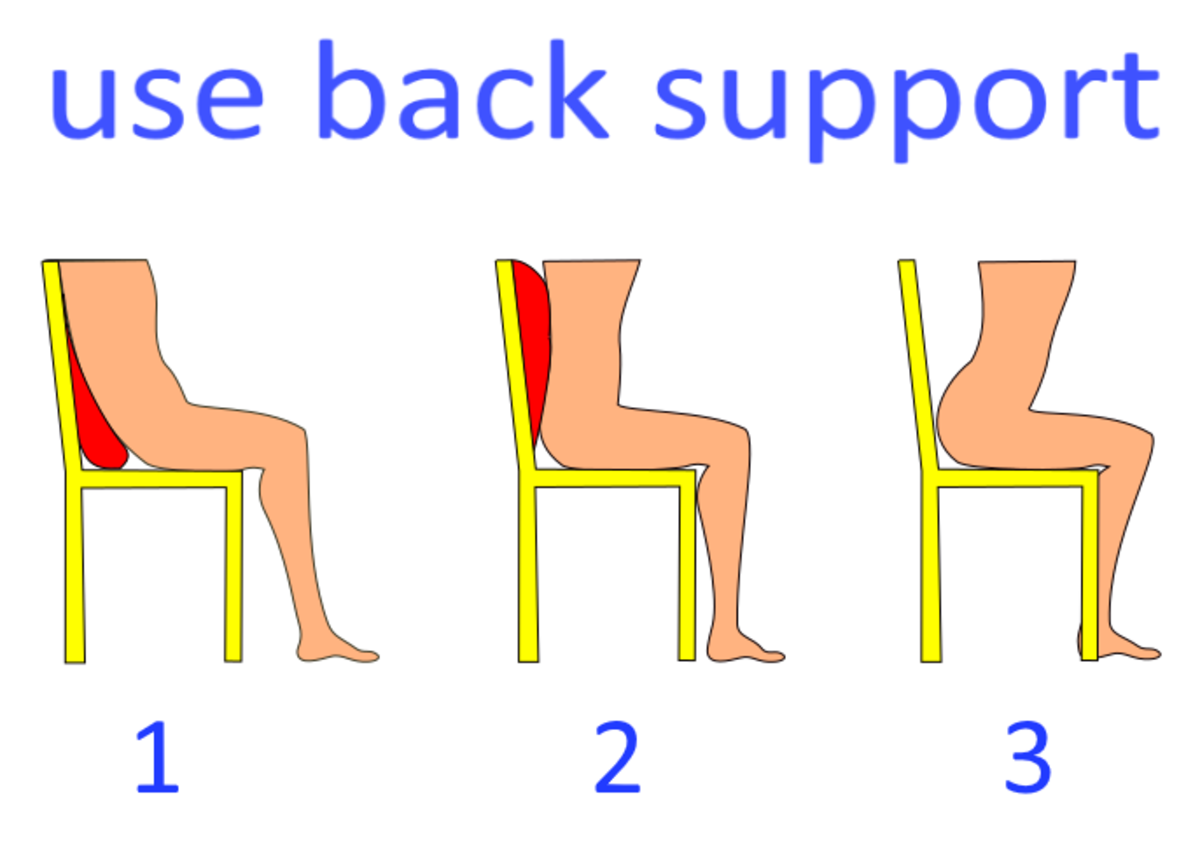Use back support to slouch or to keep the spine straight.