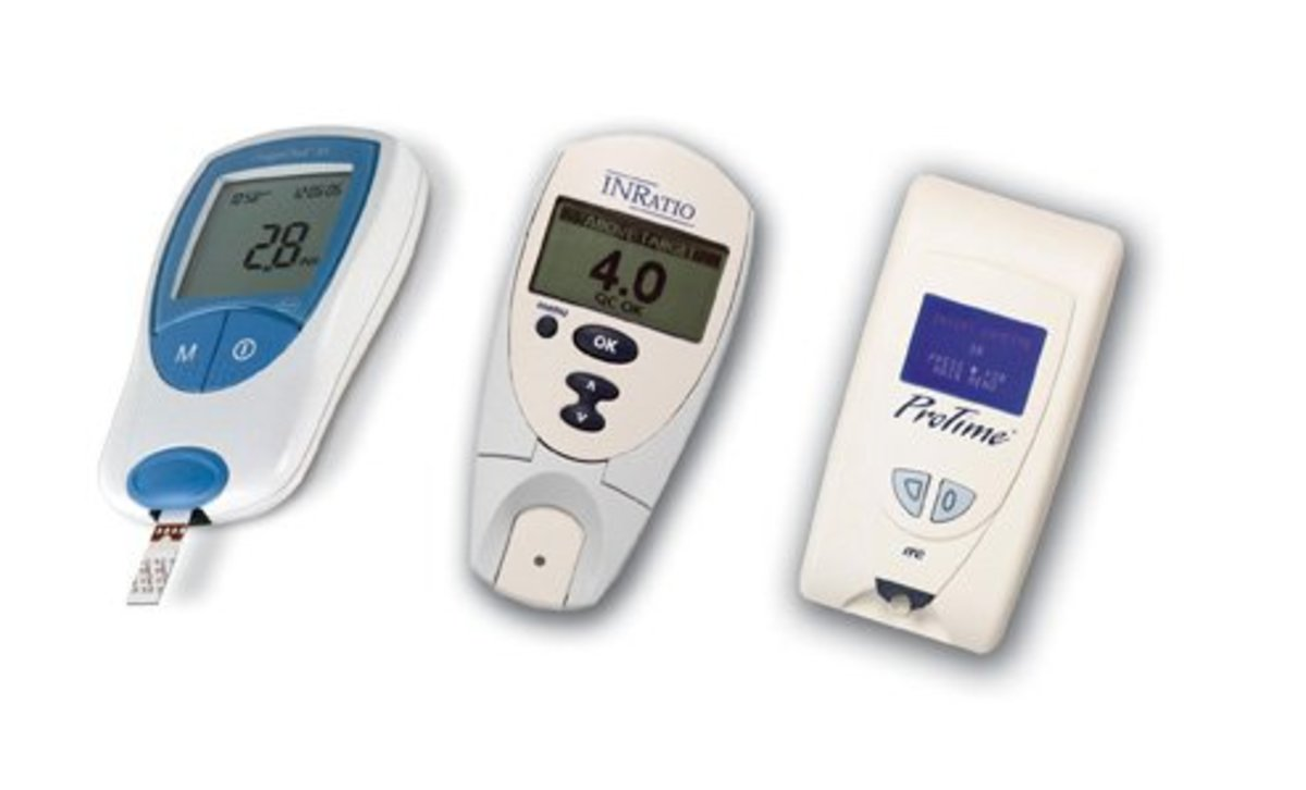 There are many manufacturers of at-home INR testing devices. Discuss the options with your doctor to find the right one for you.
