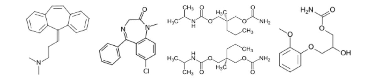 Chemical structures of common muscle relaxants, used to reduce the symptoms of sciatica: cyclobenzaprine, diazepam, carisoprodol and methocarbamol
