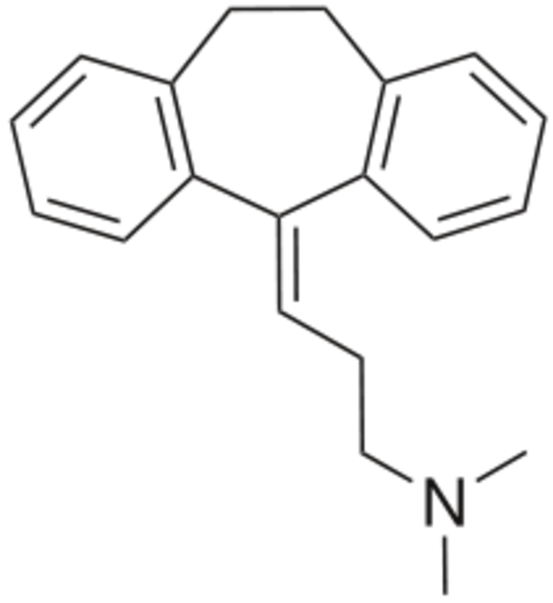 Chemical structure of amitriptlyine.
