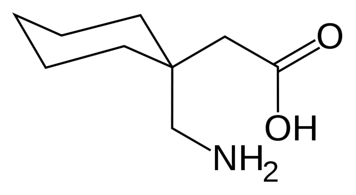 Chemical structure of gabapentin.