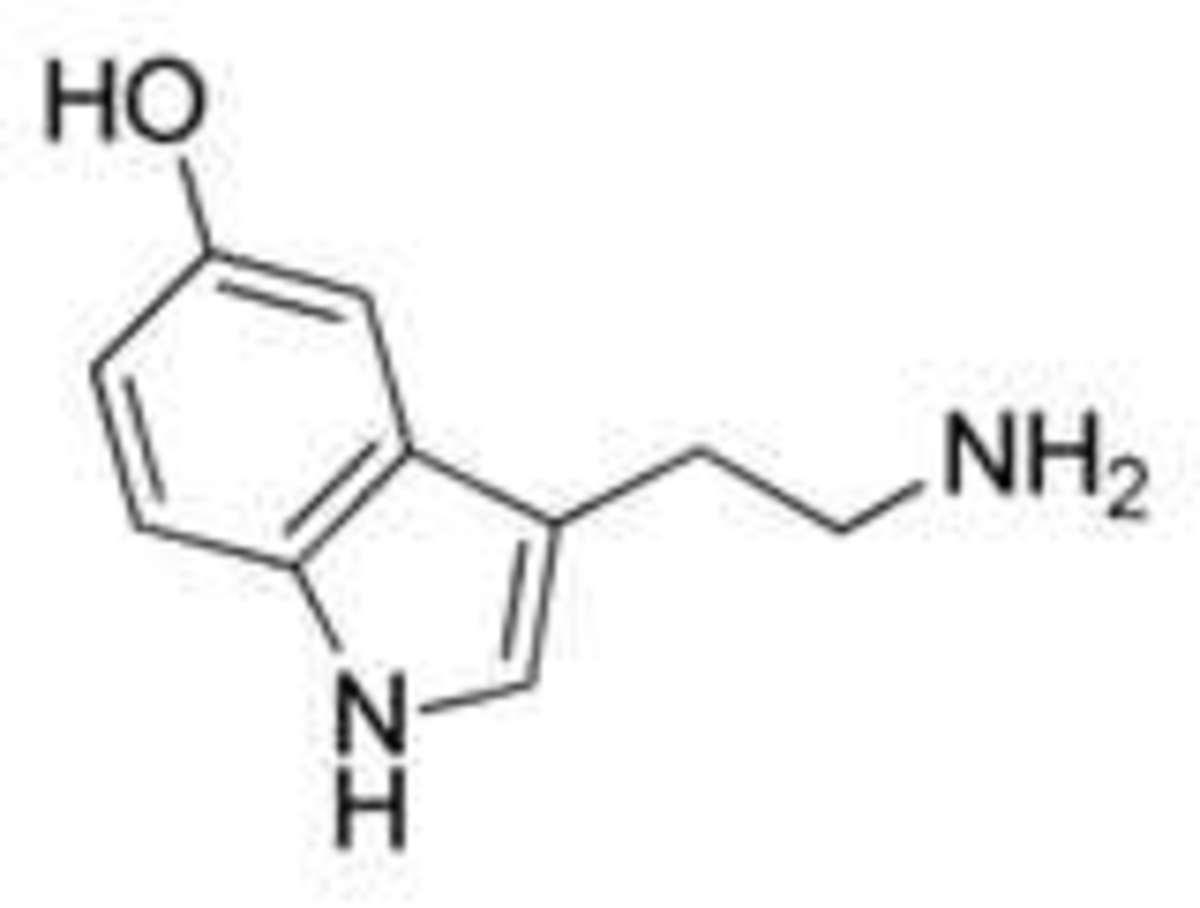 Serotonin molecule diagram.