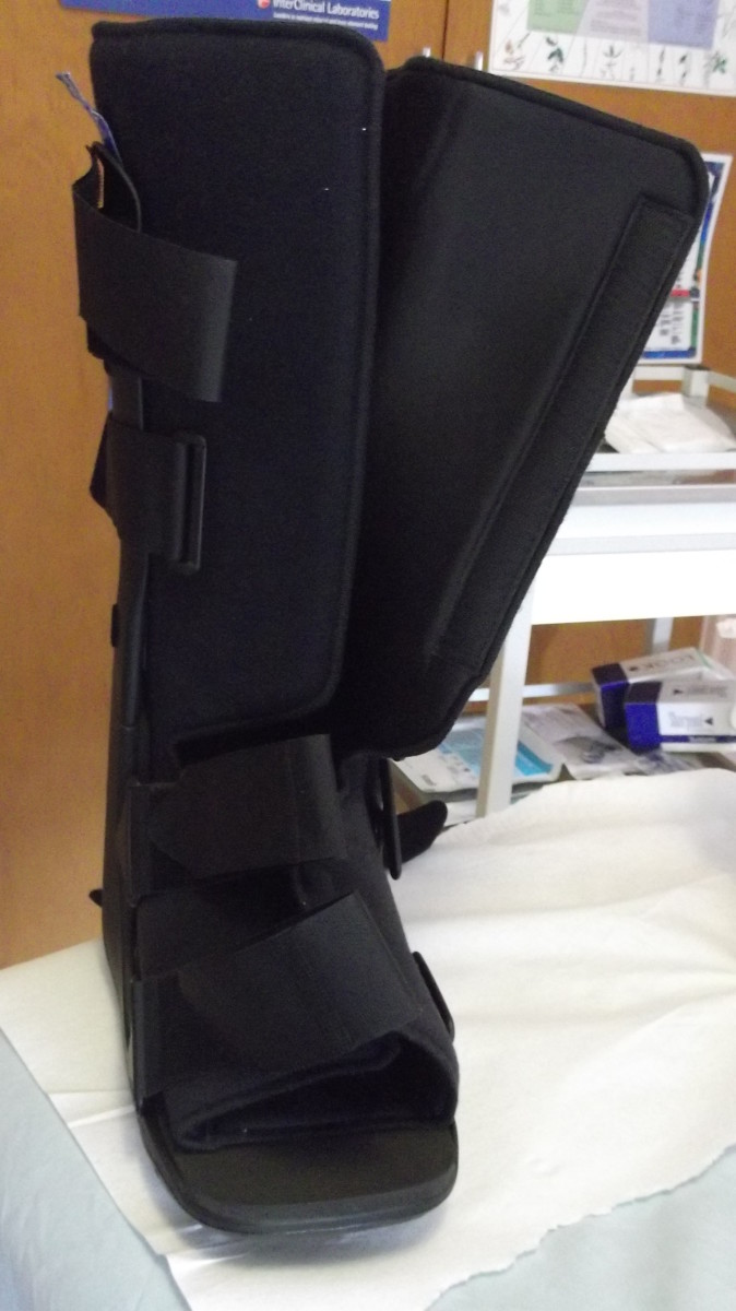 The .support boot my husband wore to protect his broken ankle is large and heavy