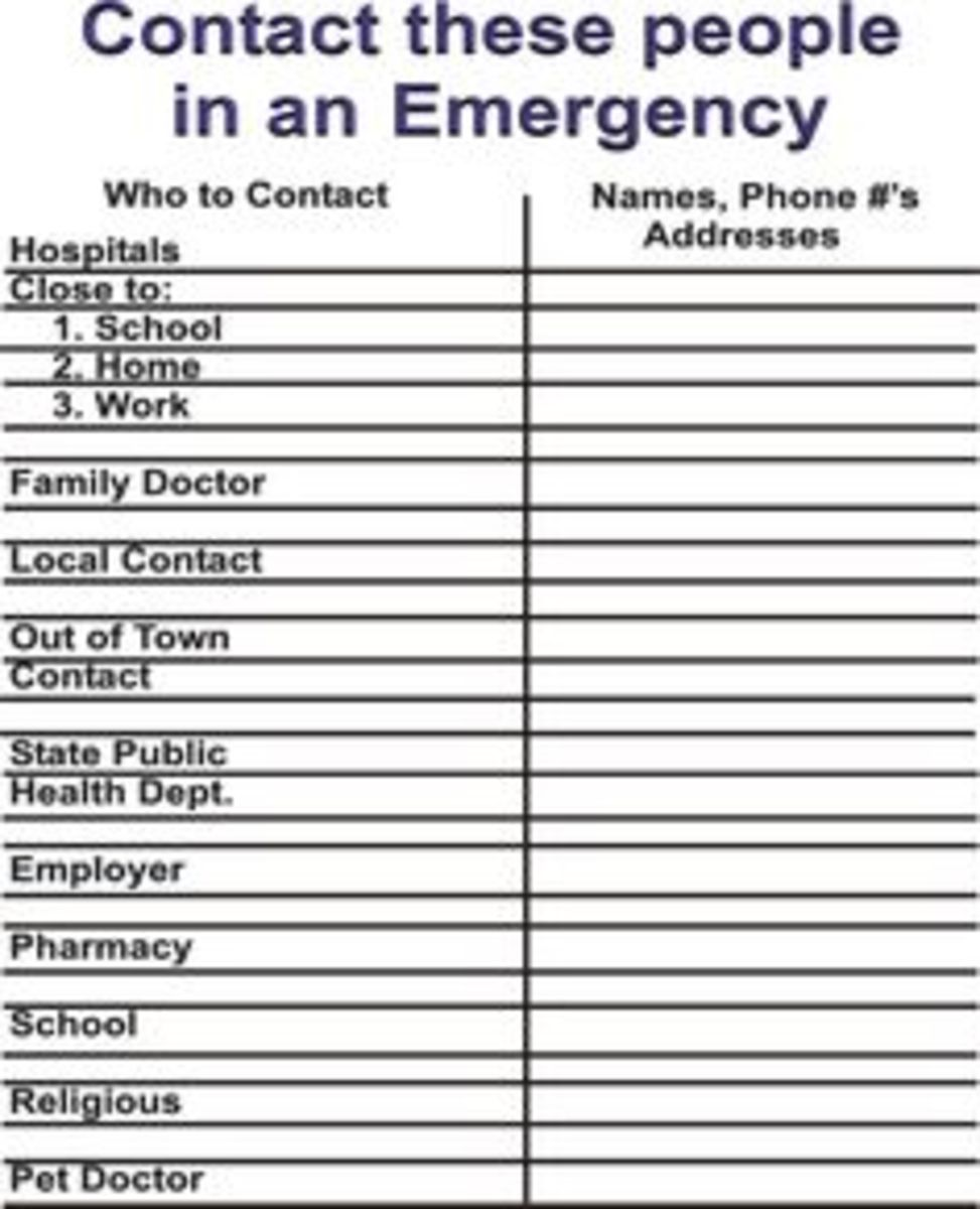 Every home should have at least one emergency contact form in easy to find places