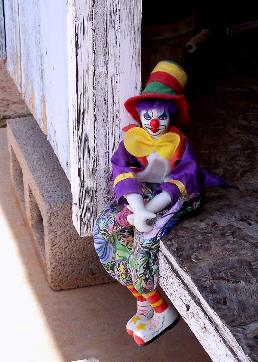 This lonely clown is not so creepy, considering the rest.