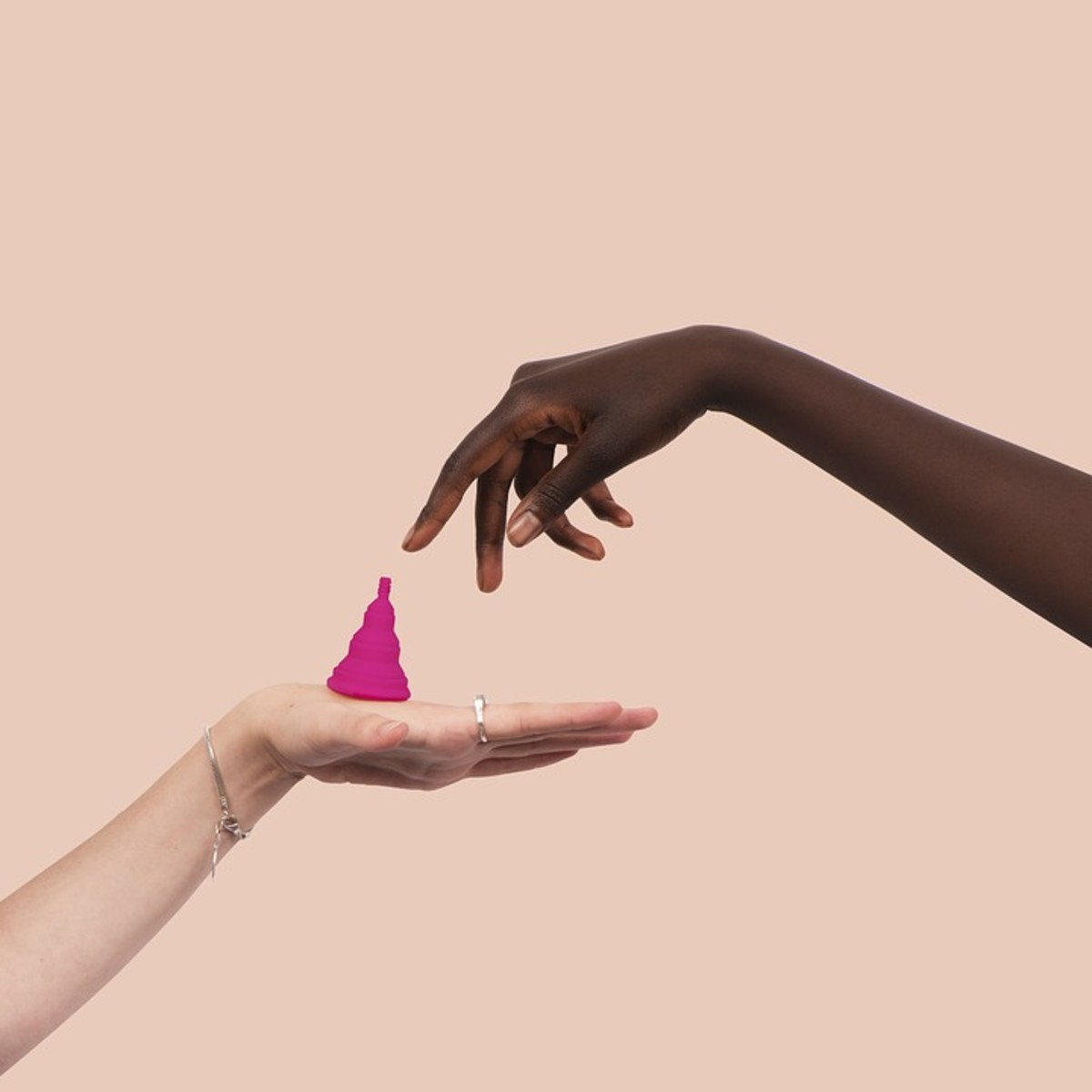 "An example of a menstrual cup. This one offers an alternative to the usual ""bell"" shape of most of the menstrual cups available."
