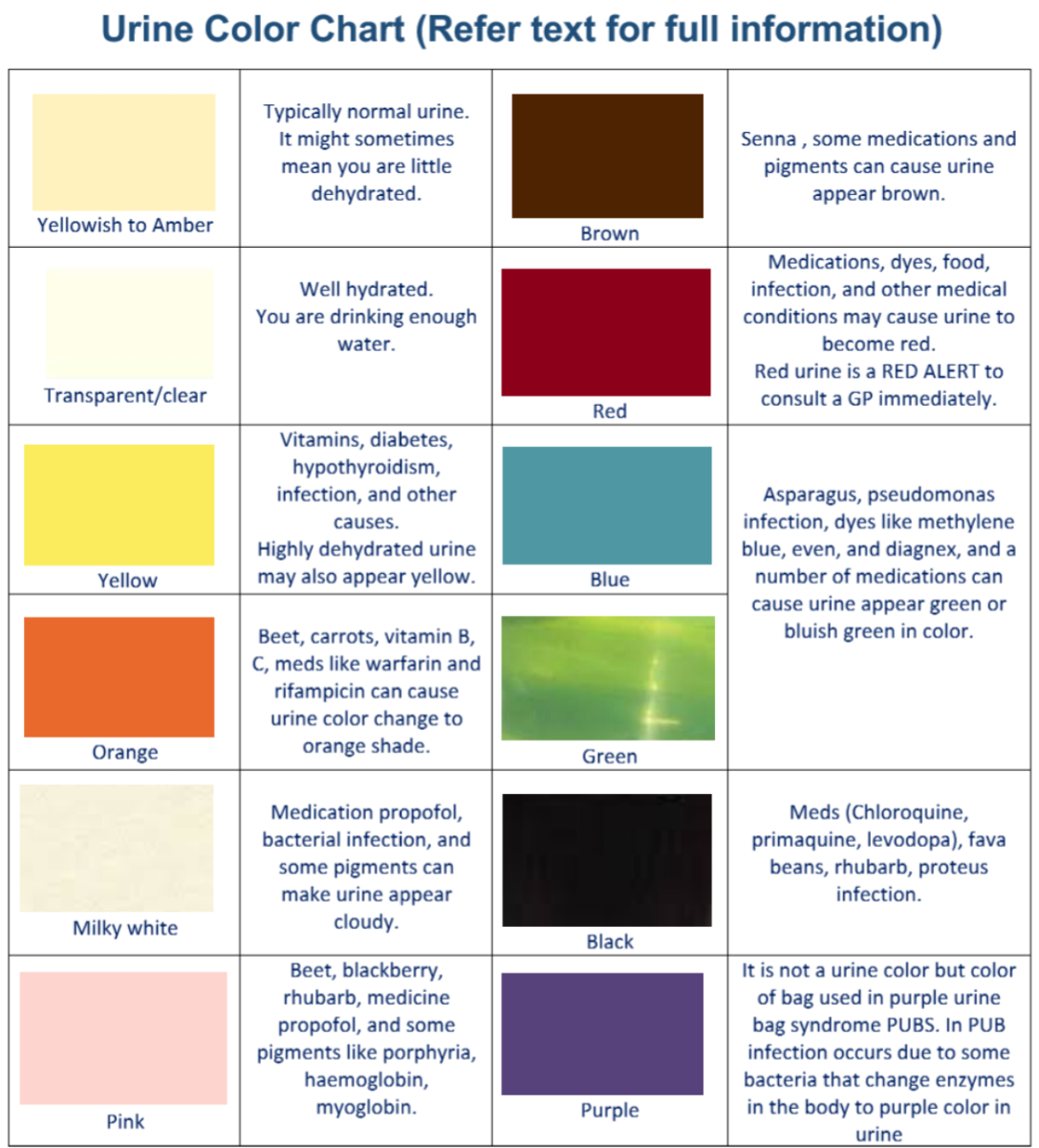 Urine Colors Chart : Medications and Food Can Change Urine Color