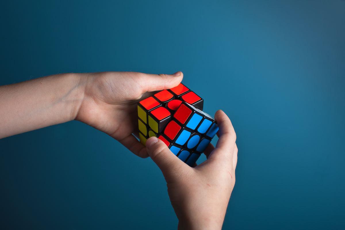 Person solving a puzzle