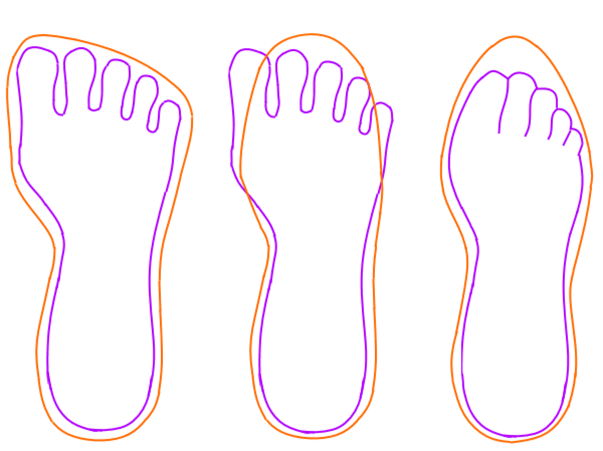 To check if a shoe fits, hold the sole of your left foot against the sole of a right shoe (or vice versa) and see if the shoe can contain shape of your foot print.