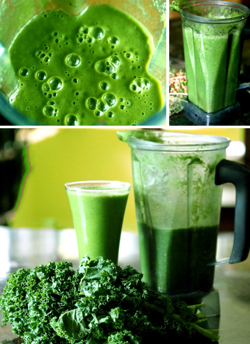 The making of a green smoothie.