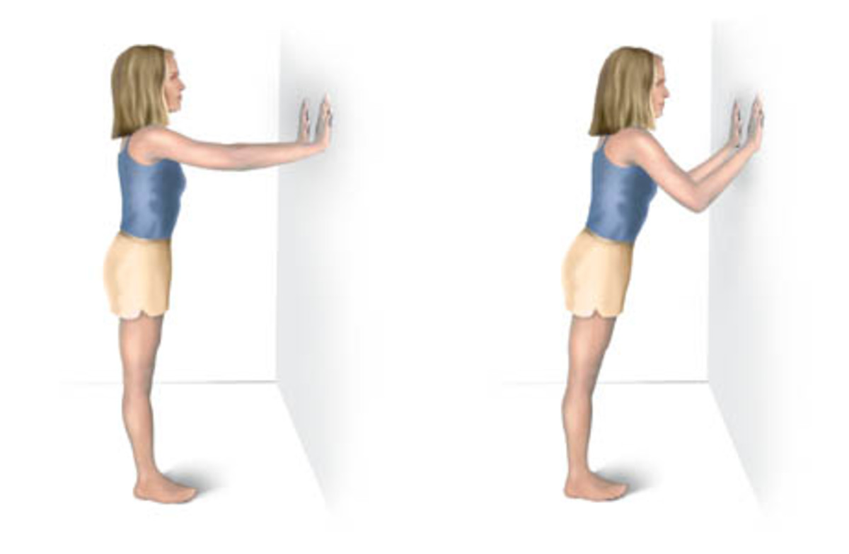 To stretch calf muscles, do a simple wall stretch.