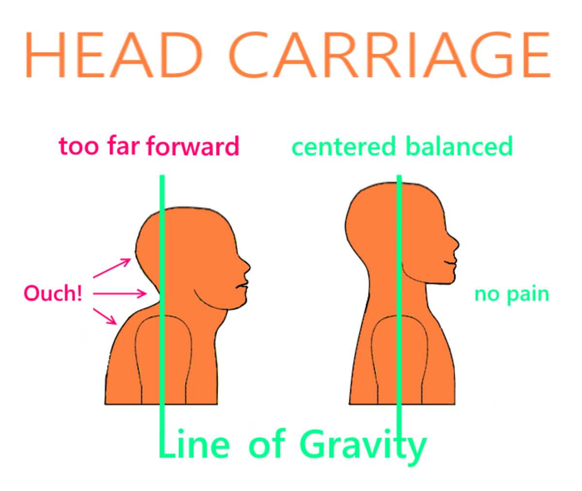 Neck Alignment for Good Posture: See the Dowager's hump and double chin in the first picture?