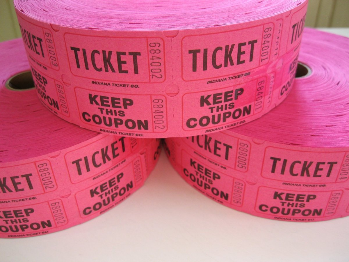 Pink raffle tickets (these are great for door prizes) at a breast cancer fundraising event