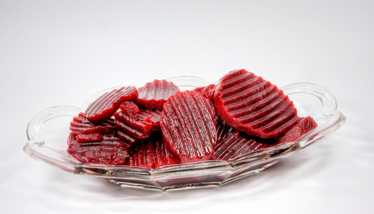 Beets or beetroot can turn urine pink or red. These are pickled beets.
