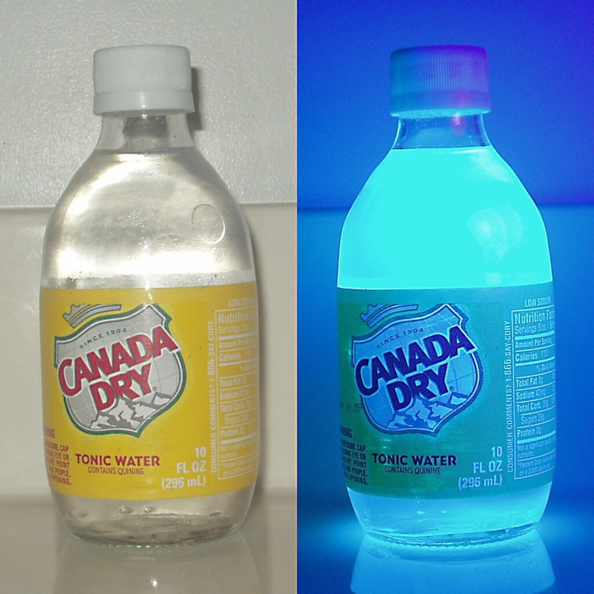 Tonic water contains quinine. When ultraviolet light is shone on quinine, it fluoresces, releasing a blue light.