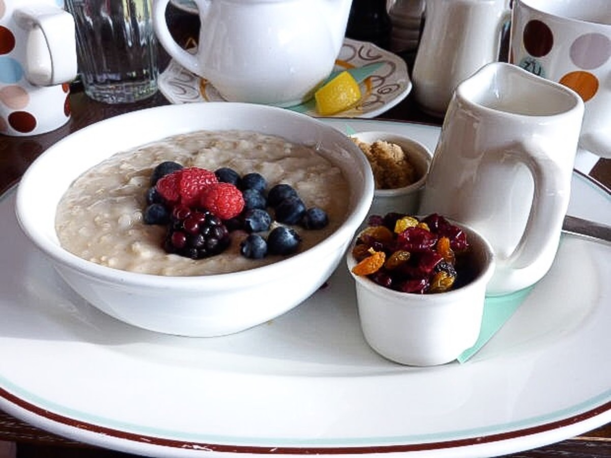 Oatmeal contains soluble fiber, which increases the amount of butyric acid in the large intestine.