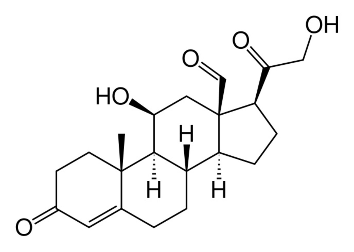 An aldosterone molecule has a complex structure and is an important substance