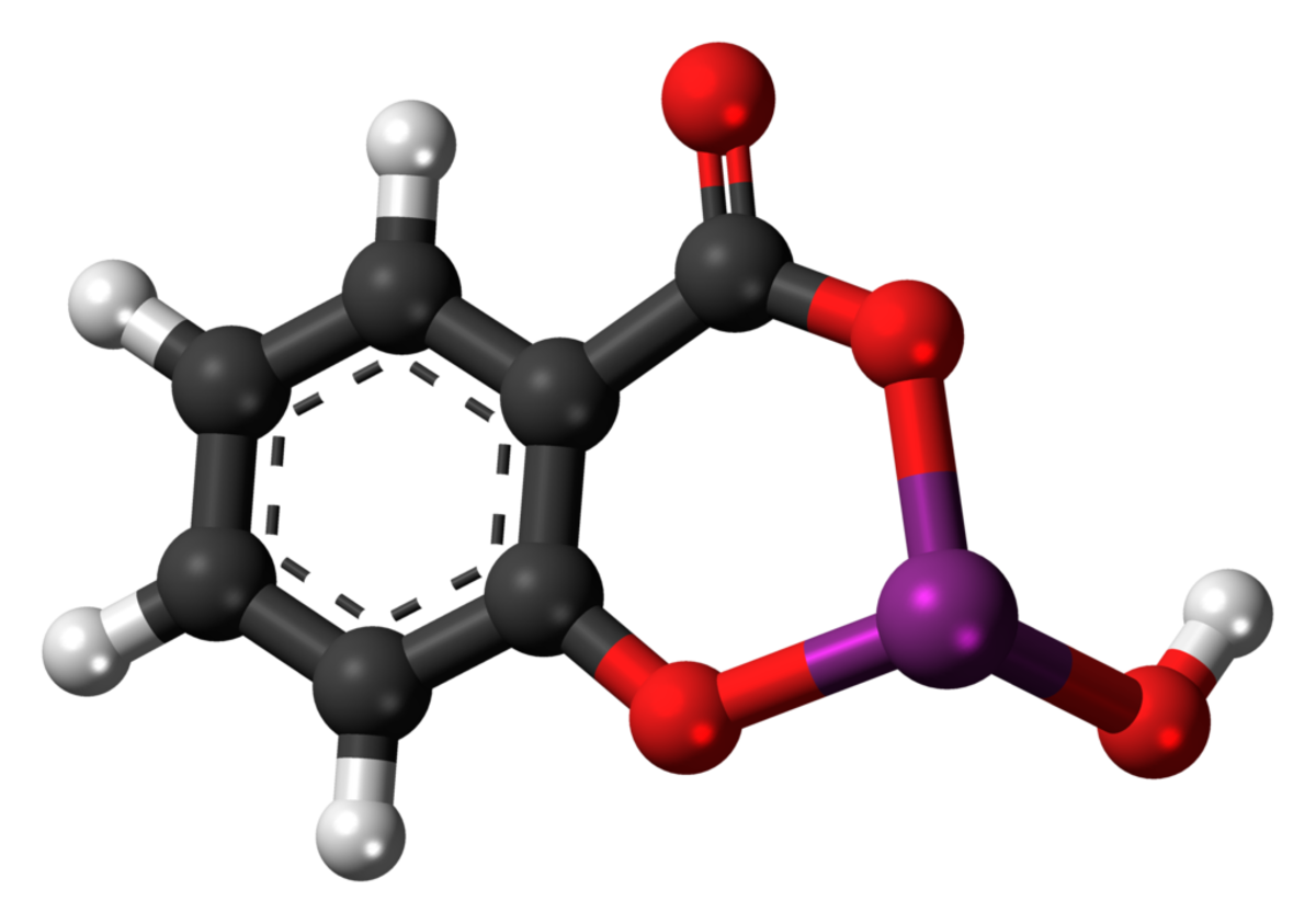 A ball and stick model of a bismuth subsalicylate molecule (carbon atoms are black, hydrogen grey, oxygen red, and bismuth purple)