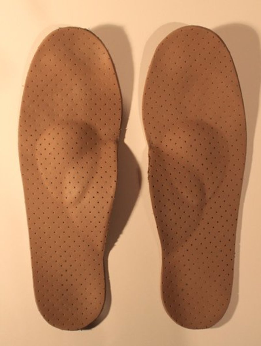 My wife's custom podiatrist-made orthotic insoles to prevent callused skin. A bit pricey, but worth the cost. Over time they have saved a lot of money in podiatrist visits!
