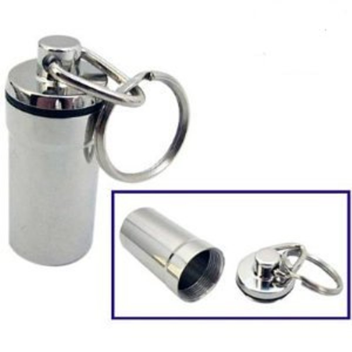 Key chain style pill container
