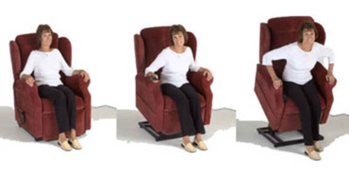 A riser-recliner helping somebody to stand