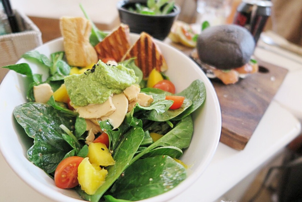 A nutritious and delicious salad; the spinach contains oxalates