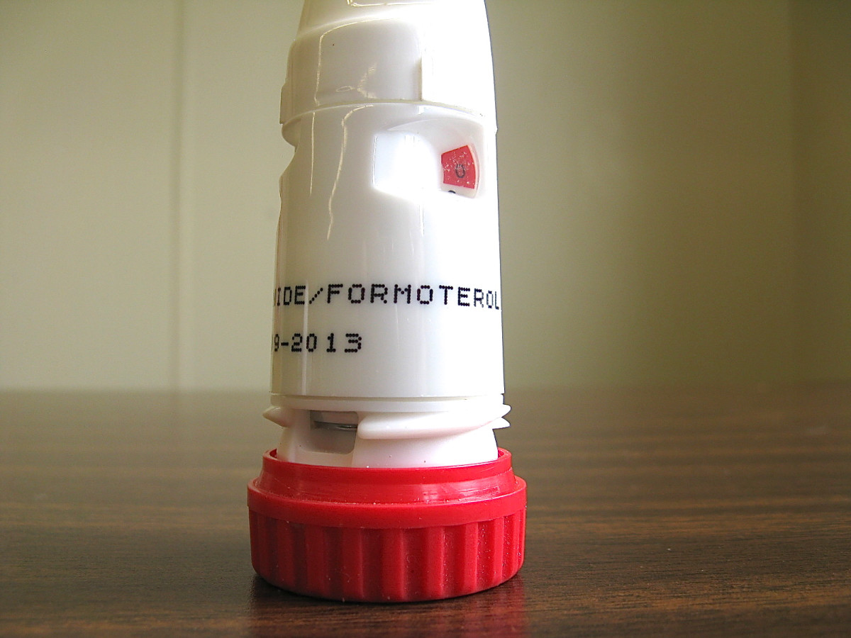 The coloured patch on the upper right of the Symbicort canister starts out white when the inhaler is full. The red flag gradually appears as the inhaler approaches the empty point.