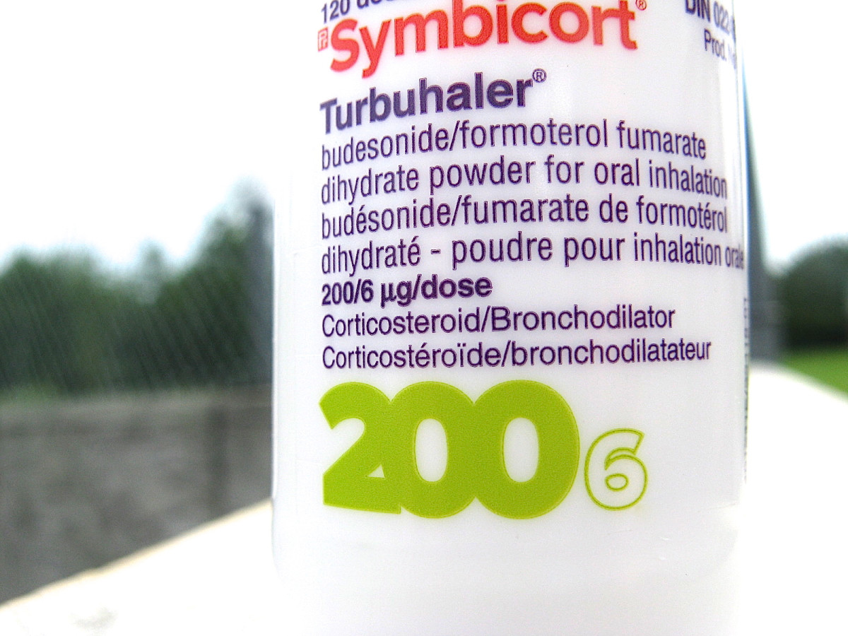 A close-up view of the inhaler contents listed on the Symbicort cap