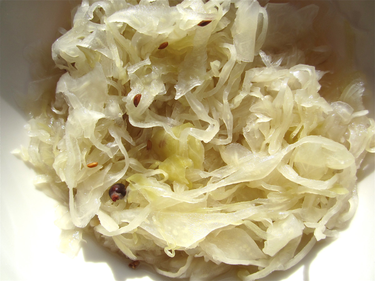 Traditional sauerkraut with caraway seeds