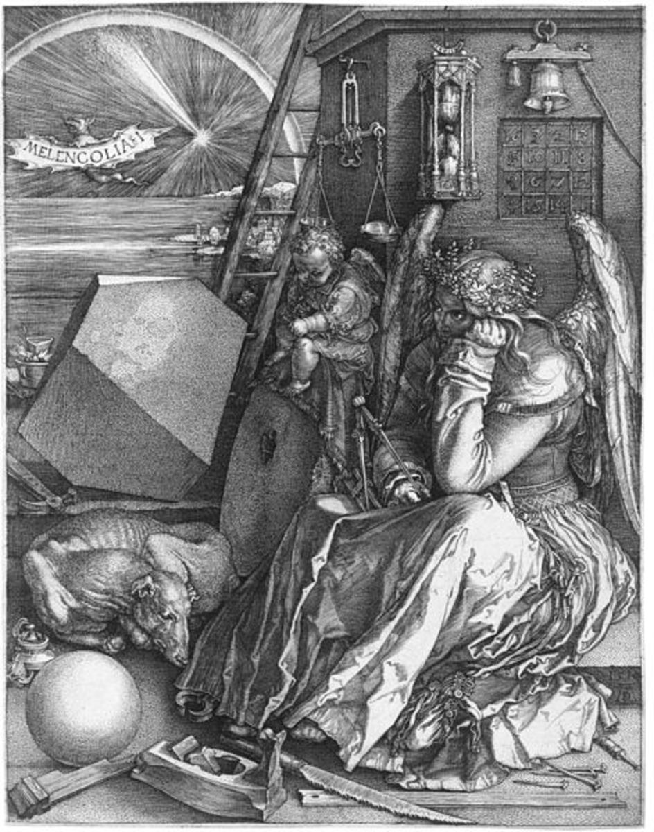Melancholia I, by Albrect Durer in 1514. A bat proclaims melancholy for a woman that has the tools for amassing power and money, but does not use them, perhaps preferring art.